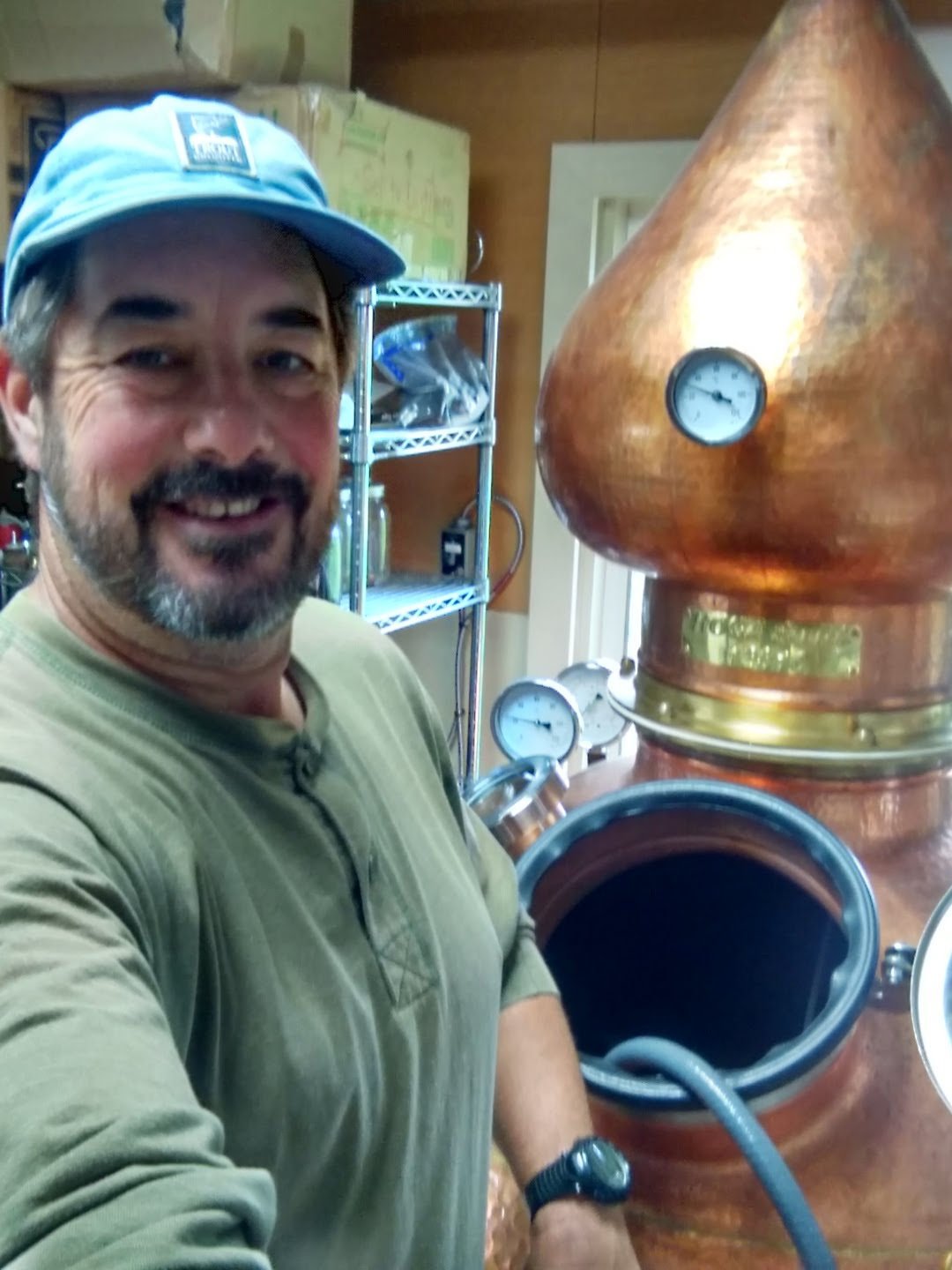 Todd having fun distilling a batch of whisky.